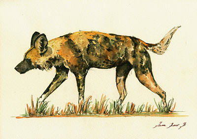 Dog Watercolor Painting - Lycaon Wild Dog by Juan  Bosco