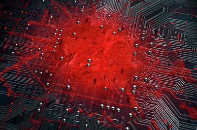 Corruption Digital Art - Macro Circuit Board Infection by Allan Swart