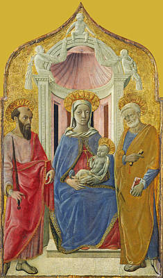 Painting - Madonna And Child Enthroned With Saint Peter And Saint Paul by Domenico di Bartolo