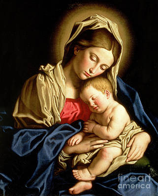 Religion Painting - Madonna And Child by Il Sassoferrato