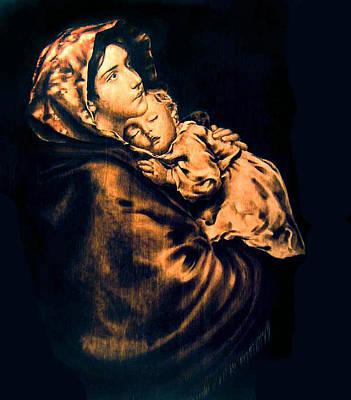 Pirogravura Pyrography - Madonnina by Dino Muradian