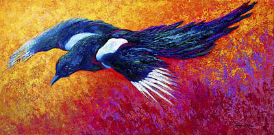 Marion Painting - Magpie In Flight by Marion Rose