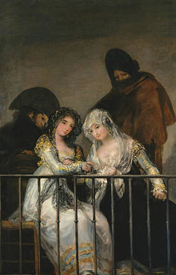Ladies Painting - Majas On A Balcony by Francisco Goya
