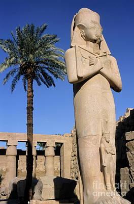 Majestic Statue Of Ramses II At Karnak Temple Print by Sami Sarkis