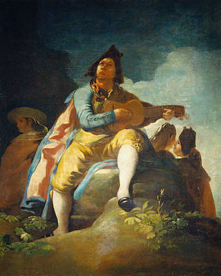 Men Painting - Majo With Guitar by Francisco Goya