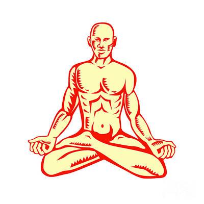 Man Lotus Position Asana Woodcut Print by Aloysius Patrimonio