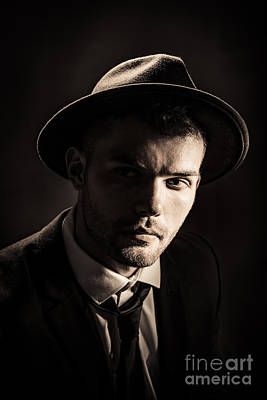 Man Wearing Trilby Print by Amanda And Christopher Elwell