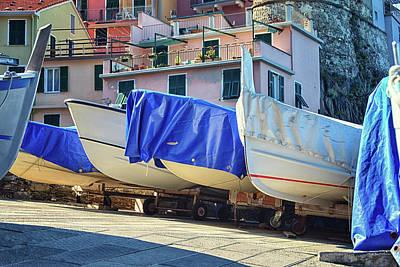 Manarola Photograph - Manarola Boats Cinque Terre Italy II by Joan Carroll
