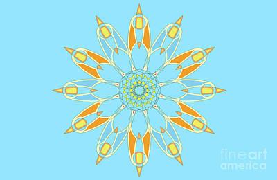 Abstracto Mixed Media - Mandala Cyan And Orange, Star, Abstract Star, Birthday Gift by Pablo Franchi