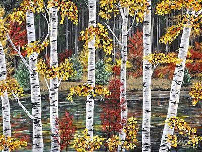 Autumn Landscape Painting - Manitoba Birch  by Lynn Huttinga
