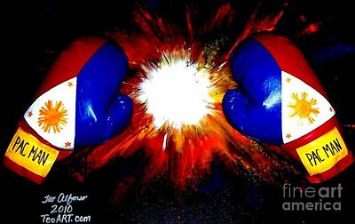 Manny Pacman Pacquiao Filipino Boxer Print by Teo Alfonso