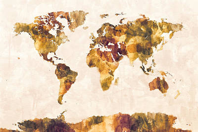 Map Of The World Map Watercolor Painting Print by Michael Tompsett