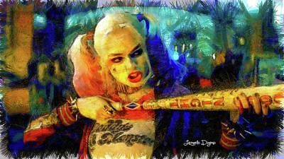 Harley Painting - Margot Robbie Playing Harley Quinn - Pencil Style by Leonardo Digenio