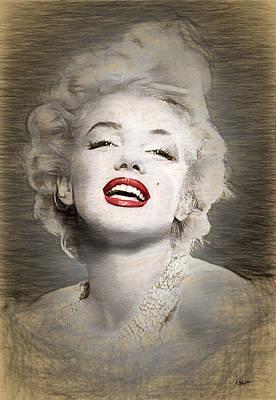 Marilyn Monroe Drawing - Marilyn Monroe Portrait by Quim Abella
