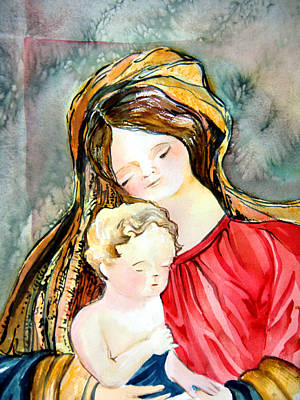 Mary And Baby Jesus Print by Mindy Newman