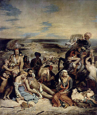 War Painting - Massacre At Chios by Eugene Delacroix