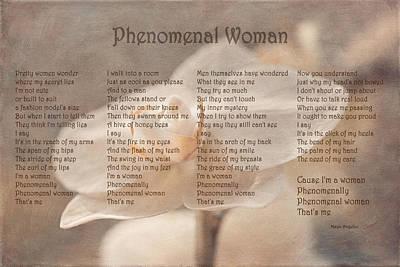 Maya Angelou - Phenomenal Woman  Print by Maria Angelica Maira