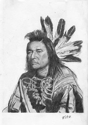 Indian Dance Drawing - Medicine Man by Rick Fitzsimons