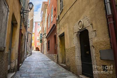 Medieval Street In Villefranche-sur-mer Print by Elena Elisseeva