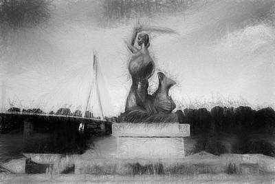 Mermaid Statue Print by Artur Bogacki