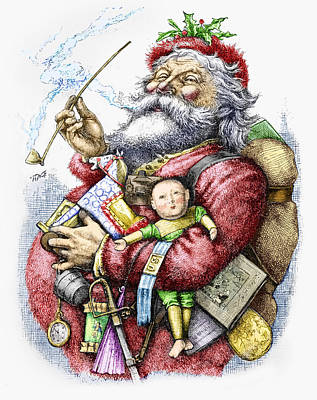 St. Nicholas Painting - Merry Old Santa Claus by Thomas Nast