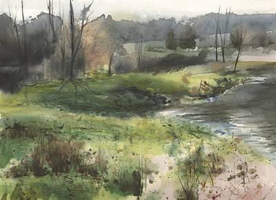Babbling Brook Painting - Meshoppen Creek by Harry  Kellow