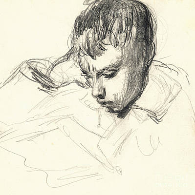 Leaning Drawing - Michel Monet Reading by Claude Monet