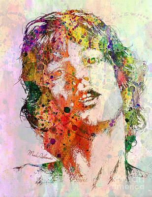 Modern Abstract Digital Art Digital Art Painting - Mick Jagger by Mark Ashkenazi