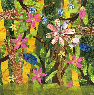 Fabric Mixed Media - Midsummers Daydream II by Julia Berkley