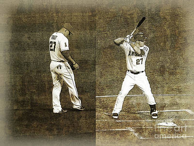 Mike Trout  Print by Robert Ball