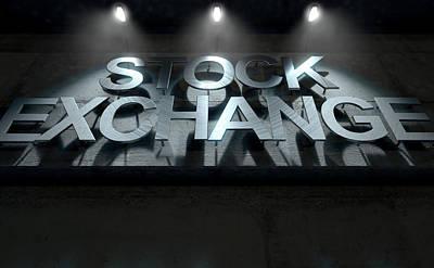 Financial Digital Art - Modern Stock Exchange Signage by Allan Swart