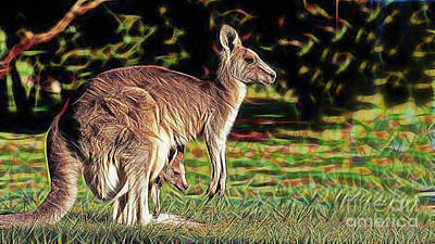 Kangaroo Mixed Media - Mom And Child by Marvin Blaine