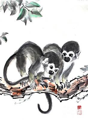 Monkeys Print by Fumiyo Yoshikawa