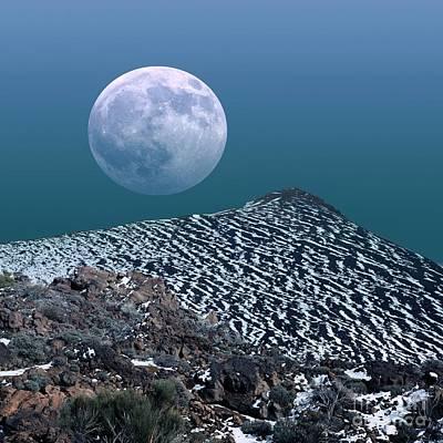 Moon-rise Over A Volcano Print by Detlev van Ravenswaay