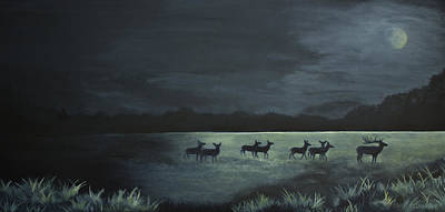Fauna Painting - Moonlight Crossing by Jordan Parker