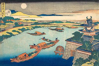 Snow Painting - Moonlight On The Yodo River by Katsushika Hokusai