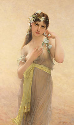 Flowers In Her Hair Painting - Morning Glory by Jules Joseph Lefebvre