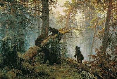 Brown Bear Painting - Morning In A Pine Forest by Ivan Shishkin