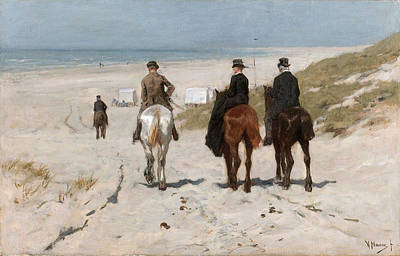 Anton Mauve Painting - Morning Ride On The Beach by Anton Mauve