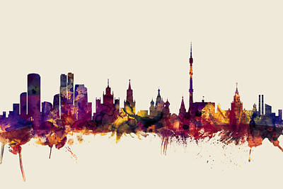 Moscow Digital Art - Moscow Russia Skyline by Michael Tompsett