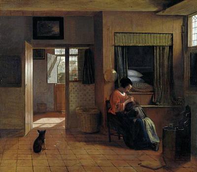 Puppies Painting - Mother Task by Pieter de Hooch