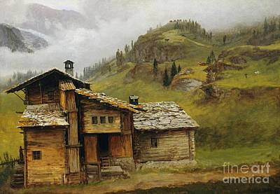 Fog Painting - Mountain House by Celestial Images