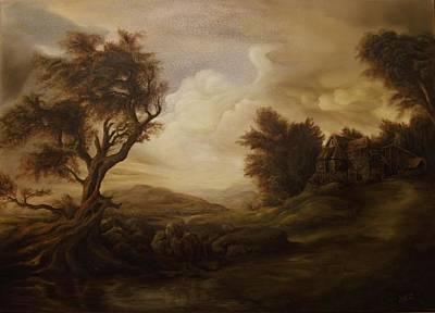 Tablou Painting - Mountain Landscape by Dan Scurtu