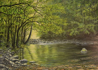 Great Smokey Mountains Painting - Mountain Stream Near Gatlinburg Tn by Kathleen McDermott