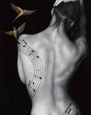 Black And White Bird Painting - Muse-ic by Pat Erickson