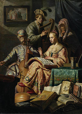 Still Life Painting - Music Rend Company by Rembrandt van Rijn