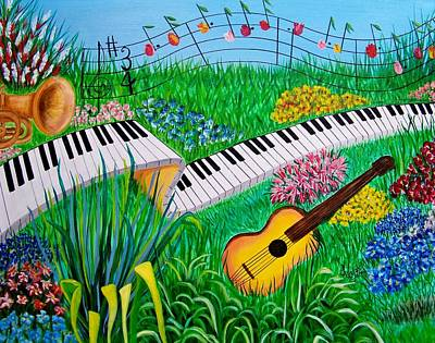 Trumpet Painting - Musical Garden by Kathern Welsh