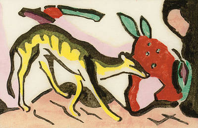 Colorful Abstract Drawing - Mythical Animal by Franz Marc