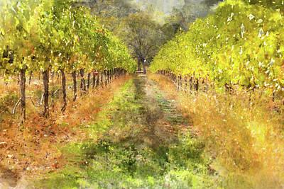 Napa Valley Digital Art - Napa Valley Vineyard In Autumn by Brandon Bourdages