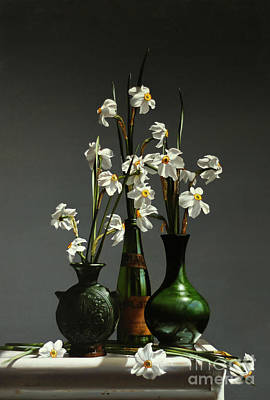 Daffodils Painting - Narcissus by Larry Preston